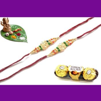 multicolor Beaded Brother Rakhi With Rocher Ferrero For Rakshabandhan