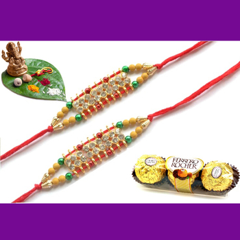 multicolor Beaded Brother Rakhi With Rocher Ferrero For Rakshabandhan