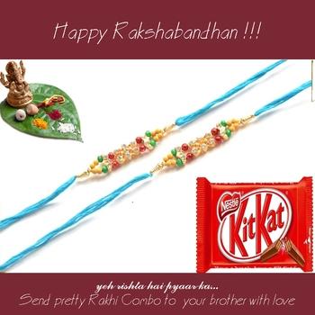 multicolor Beaded Brother Rakhi  For Rakshabandhan