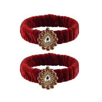 Maroon Stone Brass Bangle