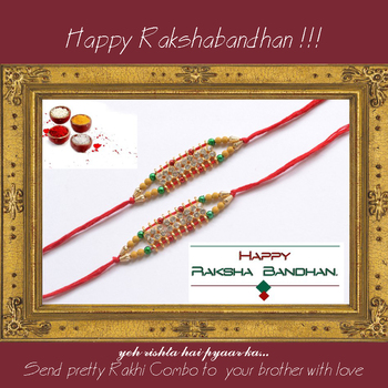 multicolor Beaded Brother Rakhi With one small Dairy Milk