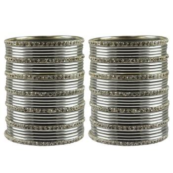 Silver Stone Brass Bangle