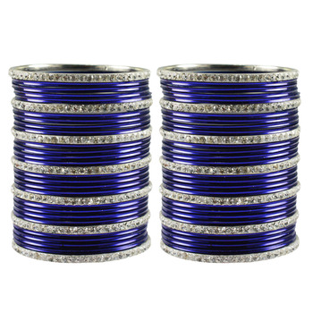 Dark Blue Stone Brass Bangle