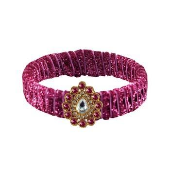 Pink Stone Brass Bangle