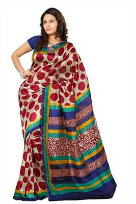 Bhagalpuri weaving silk saree in red with silver print 174