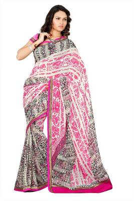 Embroidered lace border work georgette adorable saree 175