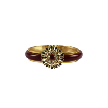 Maroon Stone Acrylic-Brass Bangle