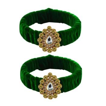 Light Green Stone Brass Bangle