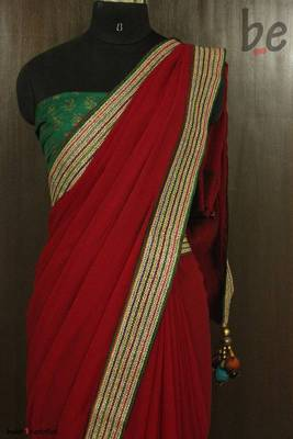 Red Goddess Georgette Saree