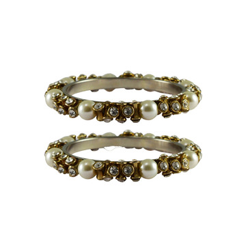 White Stone Brass Bangle