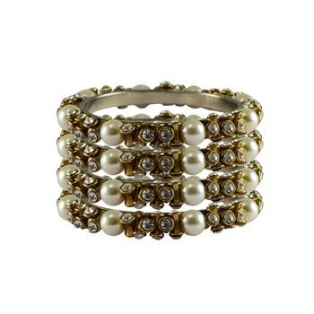White Stone Brass Bangle