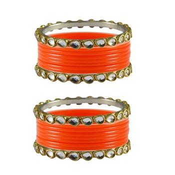 Orange Stone Acrylic-Brass Bangle