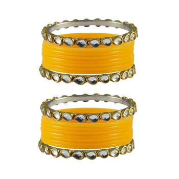 Yellow Stone Acrylic-Brass Bangle