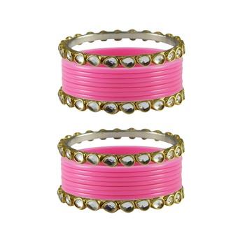 Pink Stone Acrylic-Brass Bangle