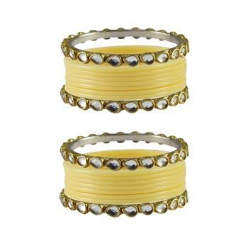 Cream Stone Acrylic-Brass Bangle
