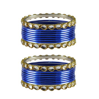 Blue Stone Metal Bangle