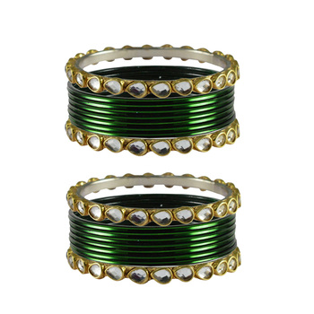 Green Stone Metal Bangle