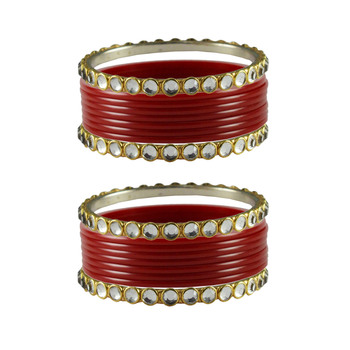 Red Stone Acrylic-Brass Bangle