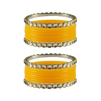 Yellow Stone Acrylic-Brass Bangle