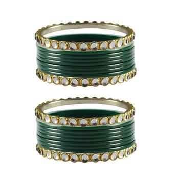 Green Stone Acrylic-Brass Bangle