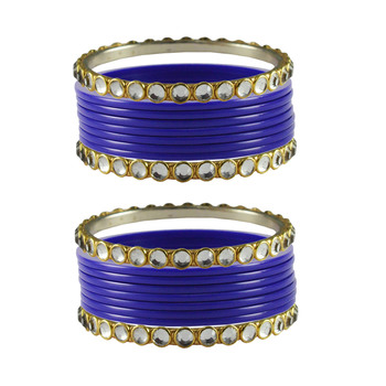 Blue Stone Acrylic-Brass Bangle