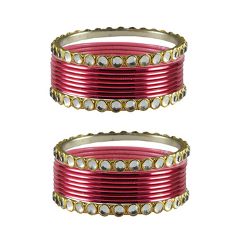 Gajari Stone Metal Bangle