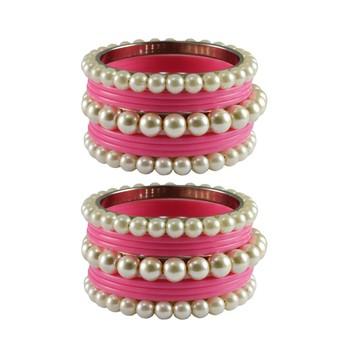 Pink Moti Acrylic-Brass Bangle