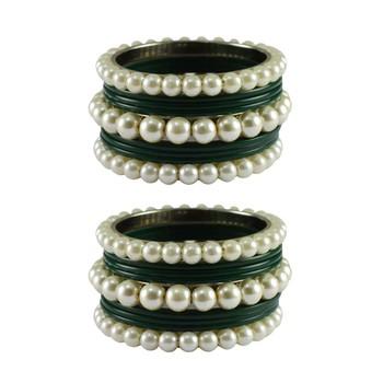 Green Moti Acrylic-Brass Bangle
