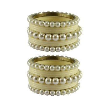 White Moti Acrylic-Brass Bangle