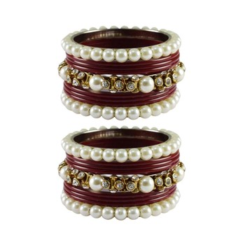 Maroon Moti Acrylic-Brass Bangle