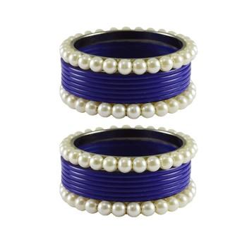 Blue Moti Acrylic-Brass Bangle