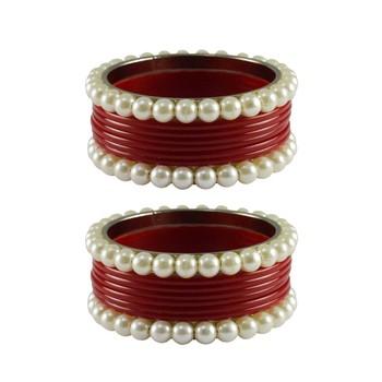 Red Moti Acrylic-Brass Bangle