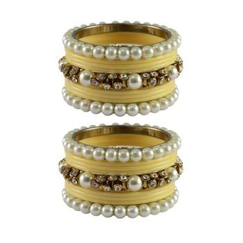 Cream Moti Acrylic-Brass Bangle