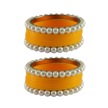 Yellow Moti Acrylic-Brass Bangle