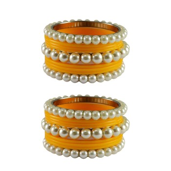 Yellow Moti Acrylic-Brass Bangle