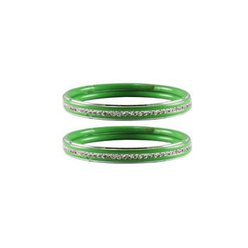 Light Green Stone Metal Bangle