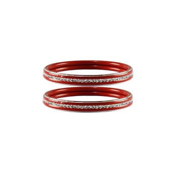 Red Stone Metal Bangle