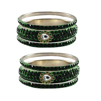 Green Stone Stud Brass Bangle