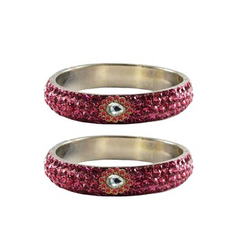 Pink Stone Stud Brass Bangle