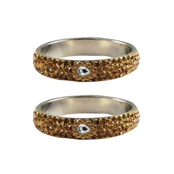 Golden Stone Stud Brass Bangle