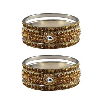 Golden Stone Stud Brass Bangle