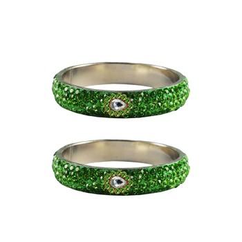 Green stone Stud Brass Bangle