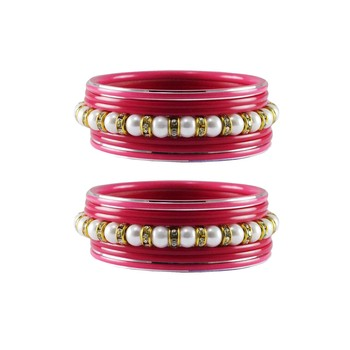 Pink Moti Stud Acrylic-Metal  Bangle