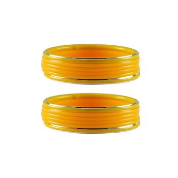 Yellow Plain Acrylic-Metal  Bangle