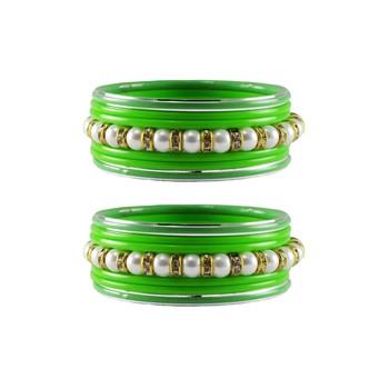 Green Moti Stud Acrylic-Metal  Bangle