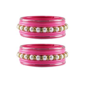 Pink Moti Stud Acrylic-Metal  Bangle