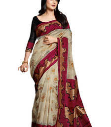 Buy multicolor printed cotton silk saree With Blouse cotton-saree online