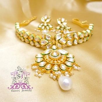 Kundan Meenakari Pearl Choker Necklace