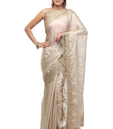 Buy Gold embroidered faux shimmer saree with blouse shimmer-saree online