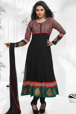 Rose-madder Red and Black Net Embroidered Festival Readymed Anarkali Salwar Kameez